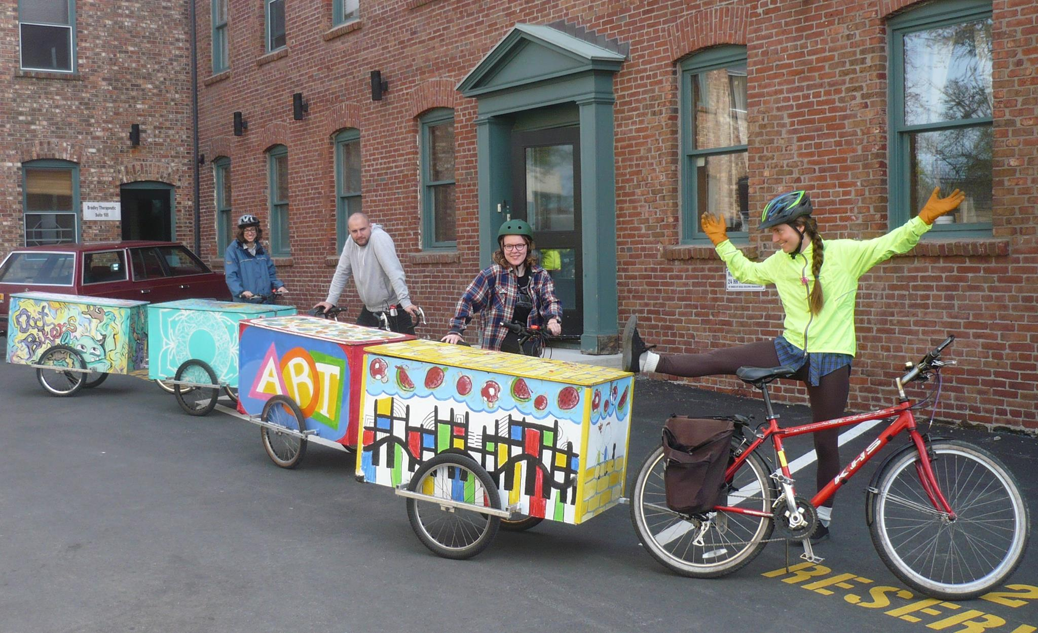 Art bikers with trailers